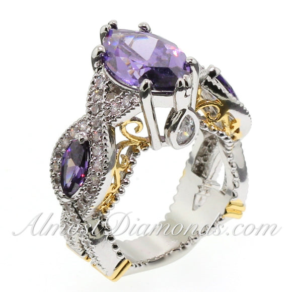 Bold and Opulent Collection - 7.5 CTW Designer Style Purple Marquise Ring