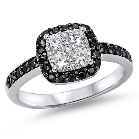 Cluster Clear and Black CZ Halo Ring Sterling Silver