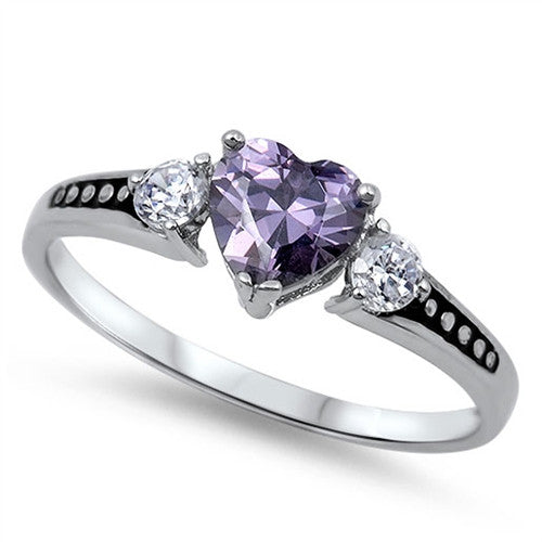 1CT Heart Love February Purple CZ 925 Solid Sterling Silver Promise Ring