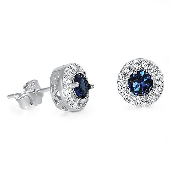 Sterling Silver Cubic Zirconia CZ Halo Stud Earrings Choose Color