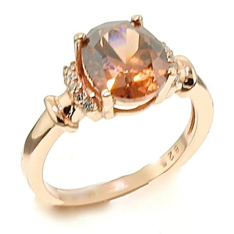 Oval Brown Chocolate CZ Cubic Zirconia Rose Gold Over Sterling Silver Engagement Ring (2cttw)
