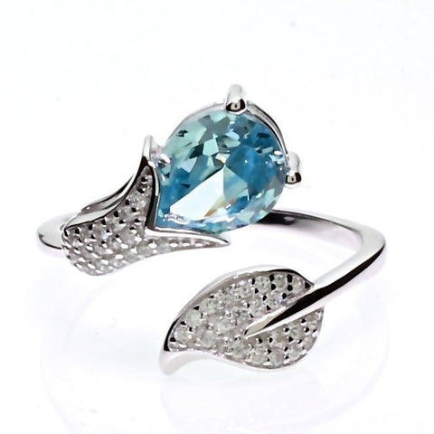 Simulated Aquamarine Summer Tulip Floral Flower Adjustable Wrap Fashion Index Finger Ring