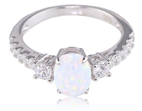 Oval White Fire Opal 925 Sterling Silver with Rhodium Plating Three Stone Ring
