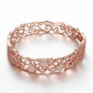 18K Rose Gold Plated Vintage Style Antique Flower Filigree CZ Bangle Bracelet