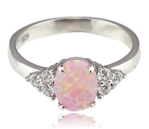 Oval Pink Fire Opal 925 Sterling Silver with Rhodium Plating Ring