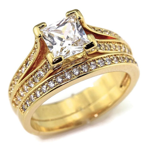 Yellow Gold Plated .75 CT Princess Cut Cubic Zirconia CZ Engagement Wedding Ring Set