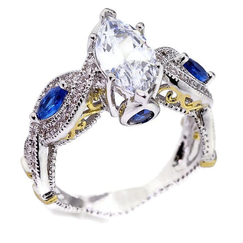 18K White Gold Plated Simulated Sapphire Marquise Cut Cubic Zirconia Engagement Ring Two-Tone