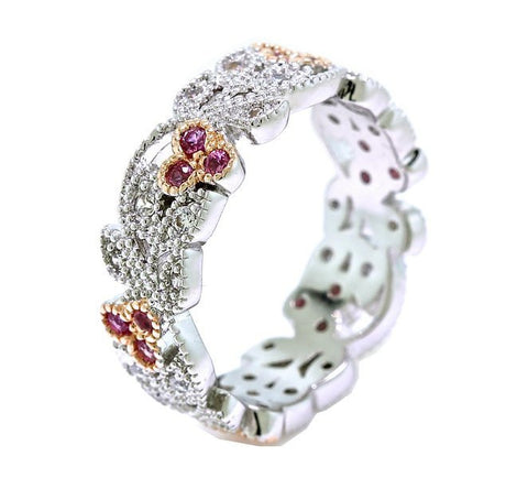 Platinum and Rose Gold Overlay Leaves and Pink Flower Vintage Filigree Eternity Anniversary Ring Band