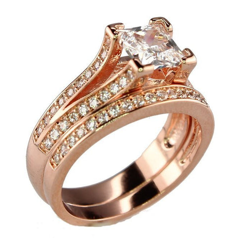 Rose Gold Plated .75 CT Princess Cut Cubic Zirconia CZ Engagement Wedding Ring Set
