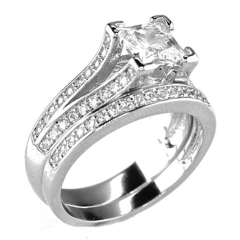 White Gold Plated .75 CT Princess Cut Cubic Zirconia CZ Engagement Wedding Ring Set