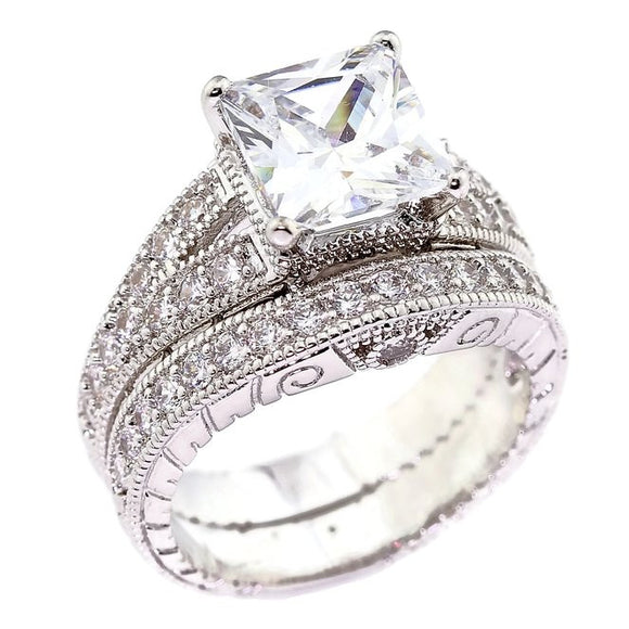Hand Engraved 2CT Princess Cut Antique Style Cubic Zirconia CZ Engagement Wedding Ring Set