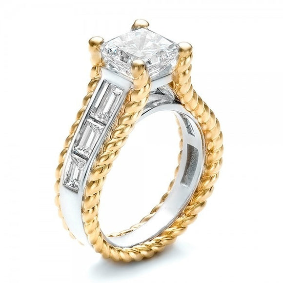 4 Carat Princess & Baguettes Platinum & Gold Overlay Two Tone Ring