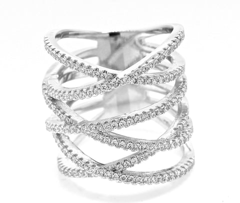 Pave Crisscross Knuckle Ring
