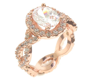 4 Carat Oval Halo Infinity Rose Gold Plated Ring