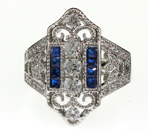 Vintage Style Blue and Clear Estate Ring