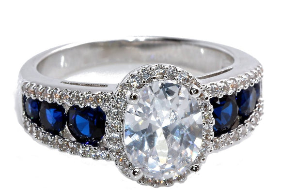 18K White Gold Plated Created Blue Sapphire and Cubic Zirconia Oval Halo Bridal Wedding Engagement Ring