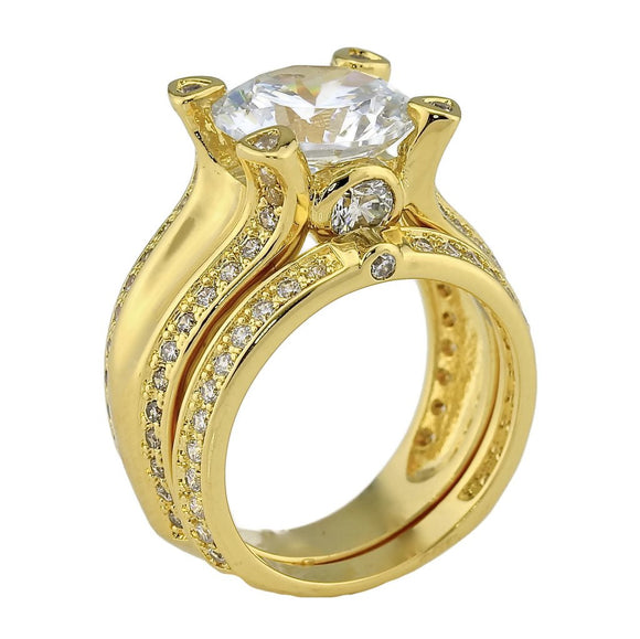 3CT Brilliant Cut CZ Cubic Zirconia Cathedral Yellow Gold Plated Solitaire Engagement Wedding Ring Set