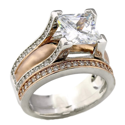2CT Princess Cut Bold Cathedral Setting Rose Gold Plated Two Tone Wedding Engagement Ring Set