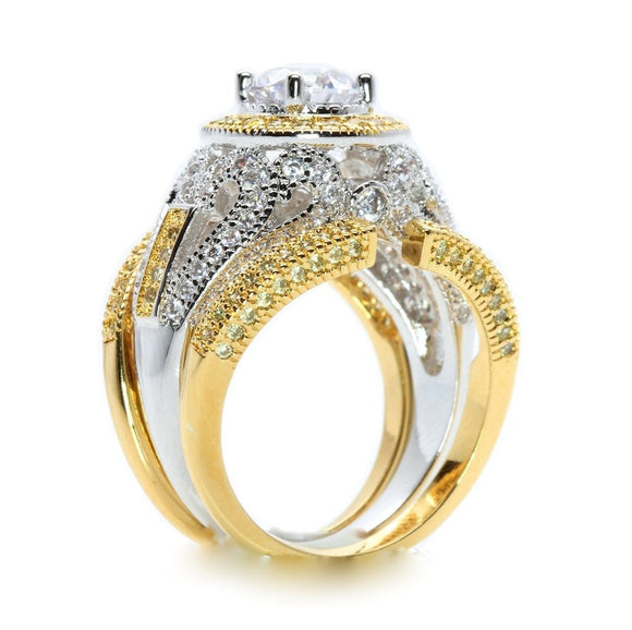5 CTW Round Brilliant Halo Platinum & Gold Overlay Two Tone Three Piece Cubic Zirconia Wedding Ring Set