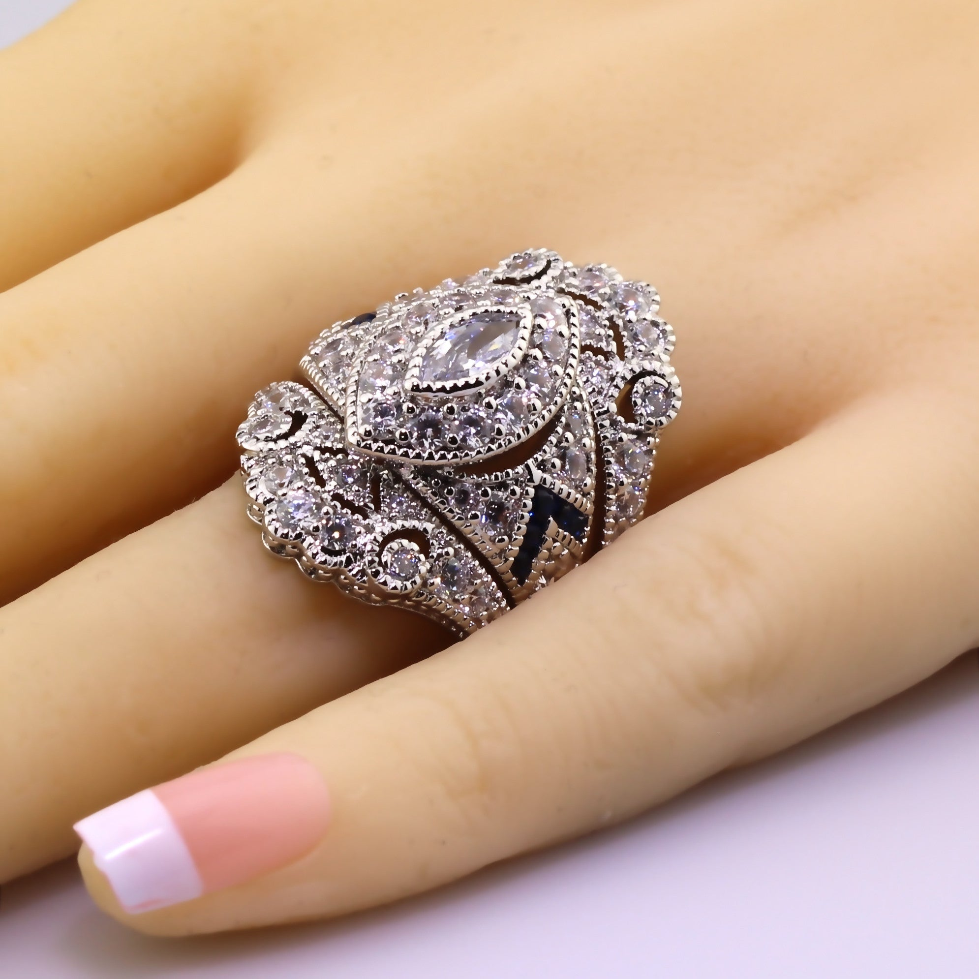 engagement piece bridal flower diamond finish ladies rng two three gold real cluster rings white set ring stone