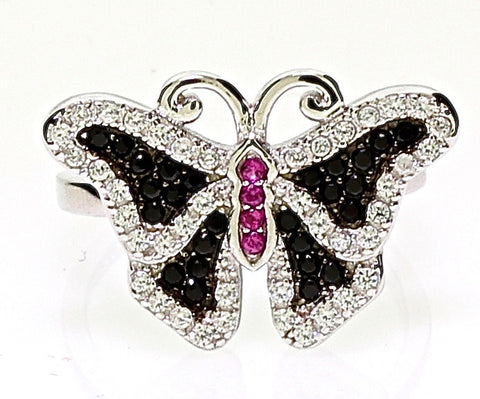 Black Pave CZ Solid Sterling Silver Butterfly Ring