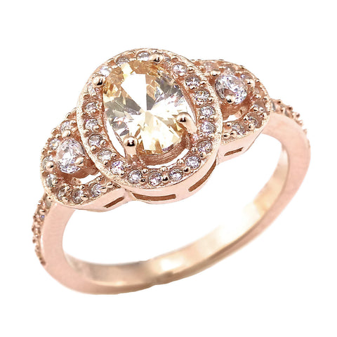 Oval Champagne & Rose Gold Over Sterling Silver Ring
