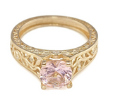 Created Pink Morganite Floral Filigree Engagement Ring Rose Gold Over Sterling Silver
