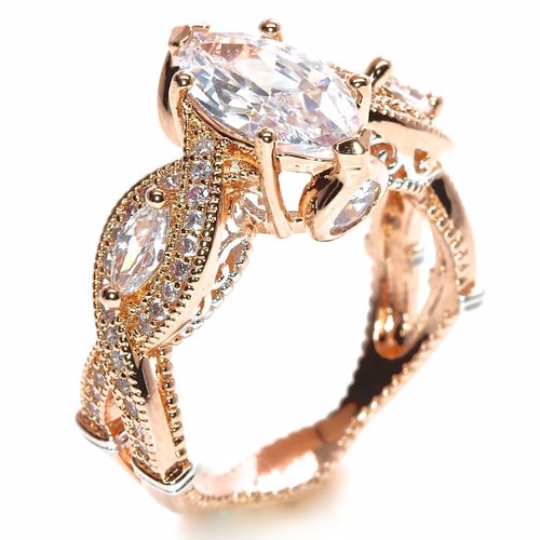 18K Rose Gold Plated Marquise Cut Cubic Zirconia Engagement Ring Two-Tone