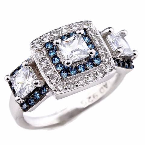 Princess Cut Blue and Clear CZ Triple Halo Engagement Ring Rhodium Plated Sterling Silver