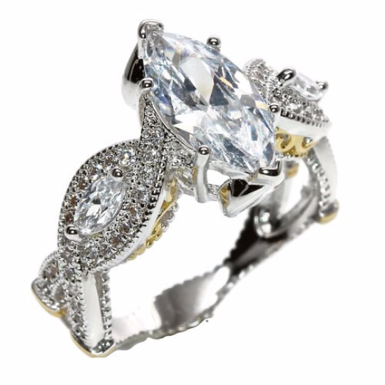 18K White Gold Plated Marquise Cut Cubic Zirconia Engagement Ring Two-Tone