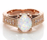 2CT Oval White Fire Lab Created Opal Rose Gold Plated Vintage Style Engagement Ring