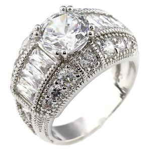18K White Gold Plated 2CT Brilliant and Baguettes Cubic Zirconia Engagement Ring