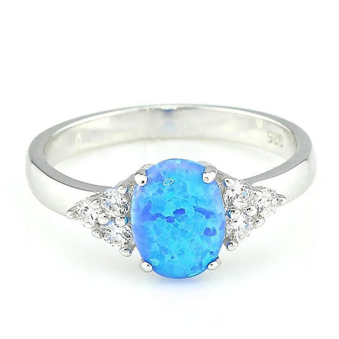 Oval Blue Fire Opal 925 Sterling Silver with Rhodium Plating Ring