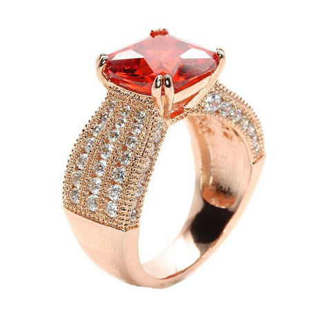 3CT Red Orange CZ Cushion Cut Rose Gold Plated Pave Engagement Ring