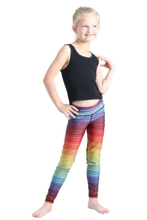 Yoga Democracy Girls Leggings Kids Rainbow Stripe Leggings