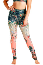 Yoga Democracy Women's Eco-friendly yoga full length leggings in Feeling Ferntastic green and pink fern floral print. USA made from post-consumer recycled plastic bottles. Sweat wicking, anti-microbial, and quick dry ultra-soft brushed fabric.