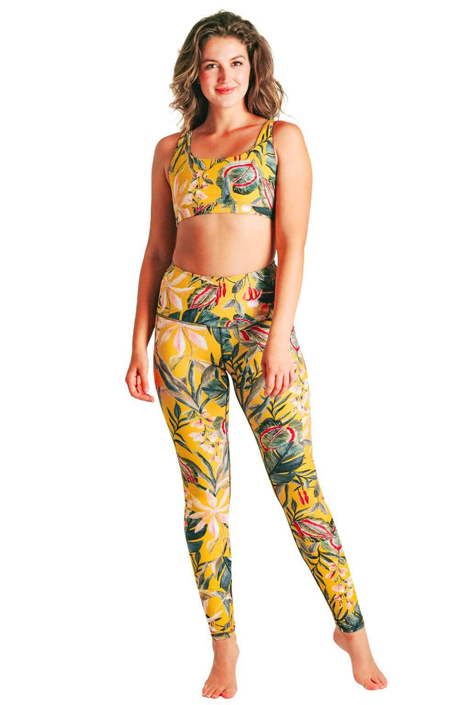 Yoga Democracy Women's Eco-friendly yoga full length leggings in Curry Up yellow with floral print. USA made from post-consumer recycled plastic bottles. Sweat wicking, anti-microbial, and quick dry ultra-soft brushed fabric.