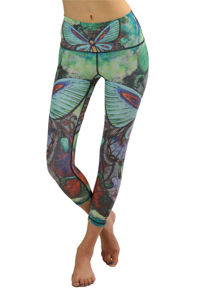 Butterfly Printed Yoga Crops- Vault