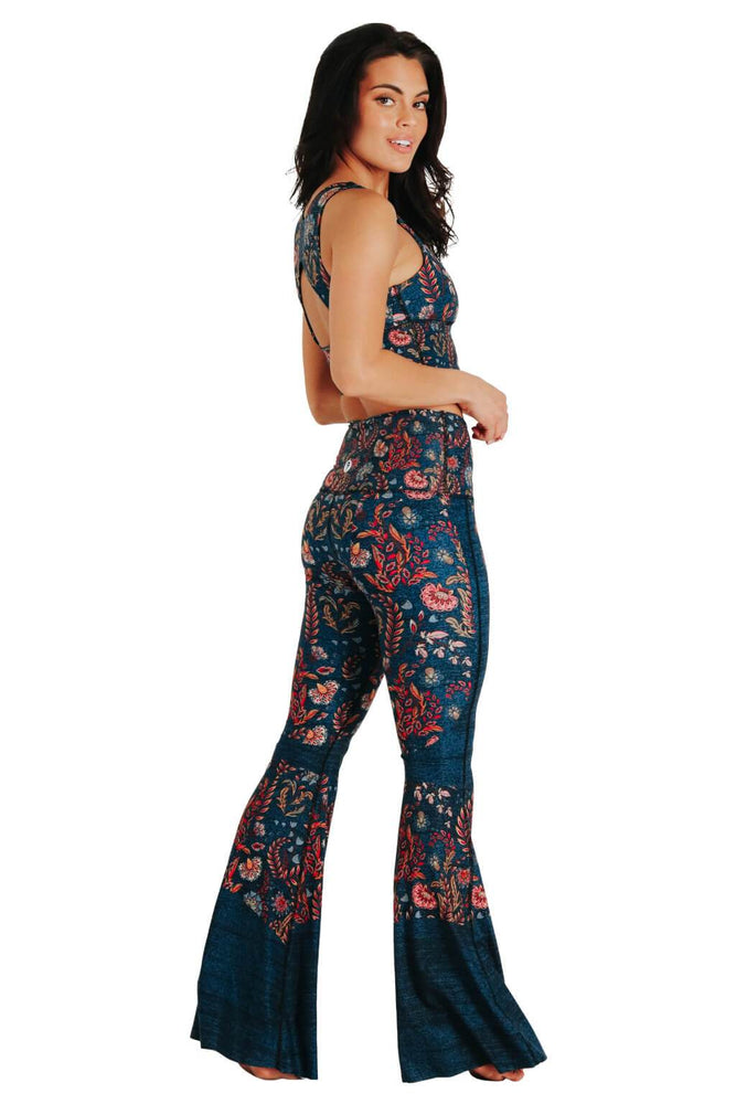 Yoga Democracy women's Eco-friendly bell bottom flare leggings in festival denim print. USA made from post consumer recycled plastic bottles