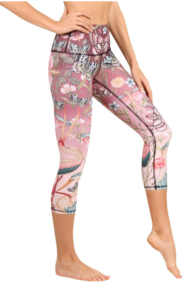 Yoga Democracy Women's Eco-friendly yoga crop Leggings in Pretty in Black Print made from post consumer recycled plastic