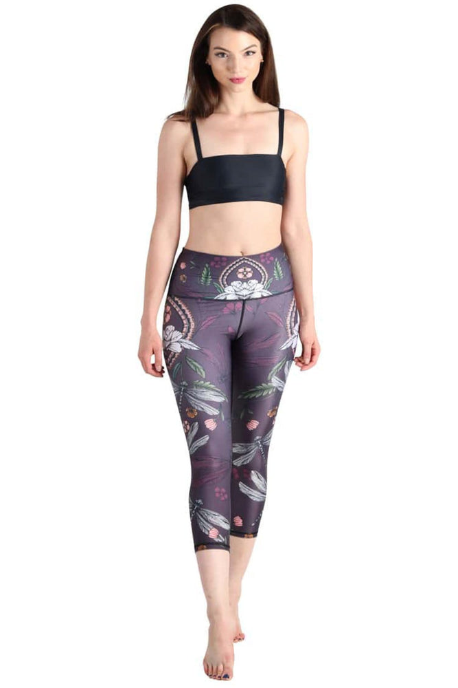 Yoga Democracy Leggings Fly by Night Printed Yoga Crops - Final Sale