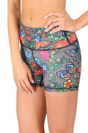 Yoga Democracy Women's Eco-friendly hot yoga Joey  Shorts in Cabaret print made from post consumer recycled plastics