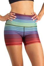 The Joey Yoga Short in Rainbow Stripe