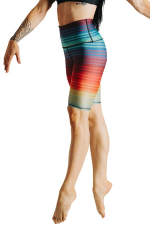 Yoga Democracy Shorts Biker Joey Short in Rainbow Stripe