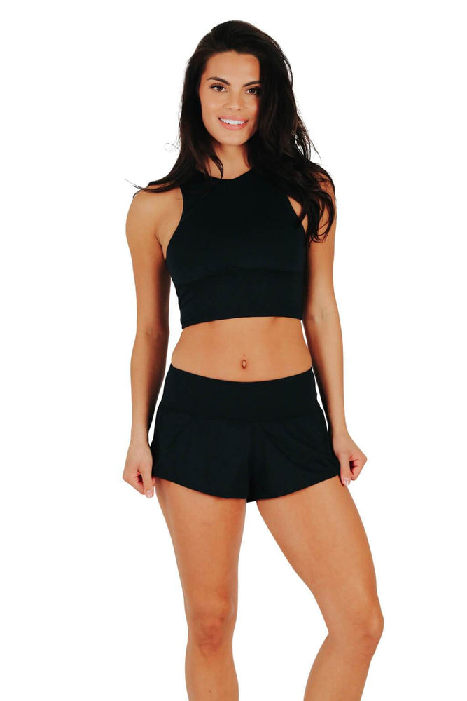 Yoga Democracy women's Eco-friendly activewear Flow Shorts in black color made from post consumer recycled plastic bottles with 3 inch inseam and built-in panty liner. Great running, jogging workout shorts.