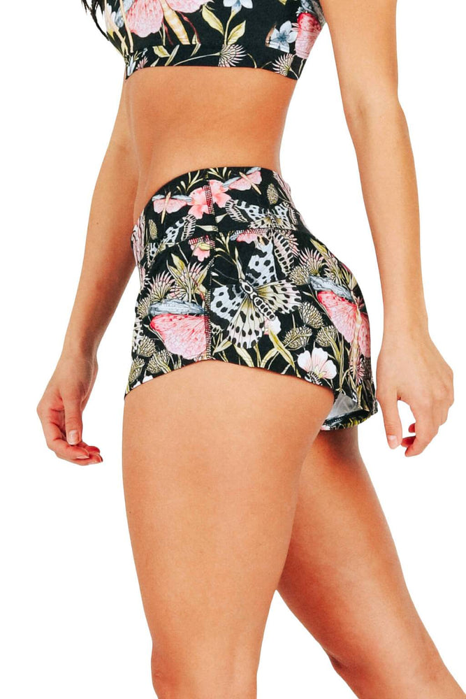 Yoga Democracy Women's Eco-friendly flow everyday running Shorts with 3 inch inseam and low-rise waistband in Pretty In Black print made from post consumer recycled plastics