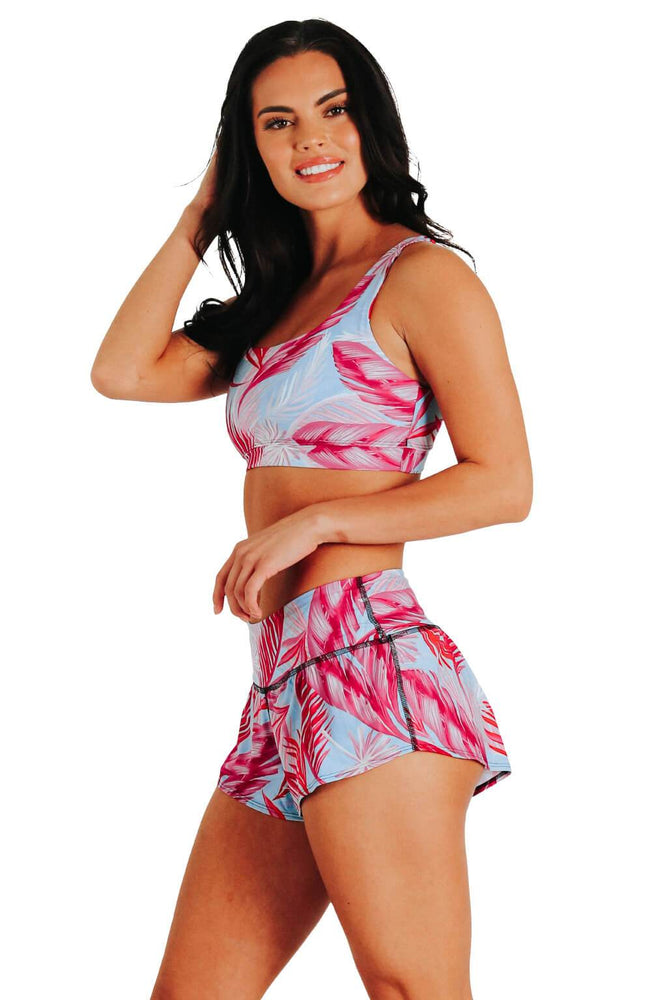 Yoga Democracy Women's Eco-friendly flow everyday running Shorts with 3 inch inseam and low-rise waistband in Hot Tropic Flamingo Feather Pink and Baby blue color print made from post consumer recycled plastics