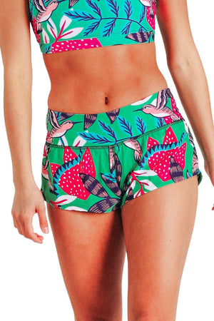 Yoga Democracy Women's Eco-friendly flow everyday running Shorts with 3 inch inseam and low-rise waistband in Early Bird  humming bird green color print made from post consumer recycled plastics