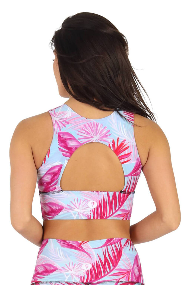 Yoga Democracy Women's Eco-friendly Free Range yoga sports Bra in Hot Tropic print Flamingo Pink and baby blue colors made in the USA from post consumer recycled plastic