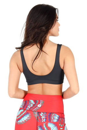 Yoga Democracy Women's Eco-friendly Medium Support Everyday yoga sports Bra in Black humming bird printed fabric made in the USA from post consumer recycled plastic